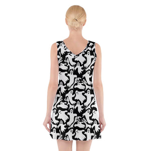 Ghosts V-Neck Sleeveless Dress