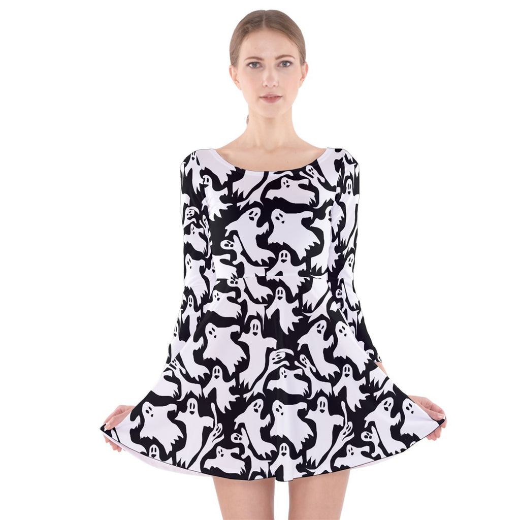 Ghosts Long Sleeve Velvet Skater Dress