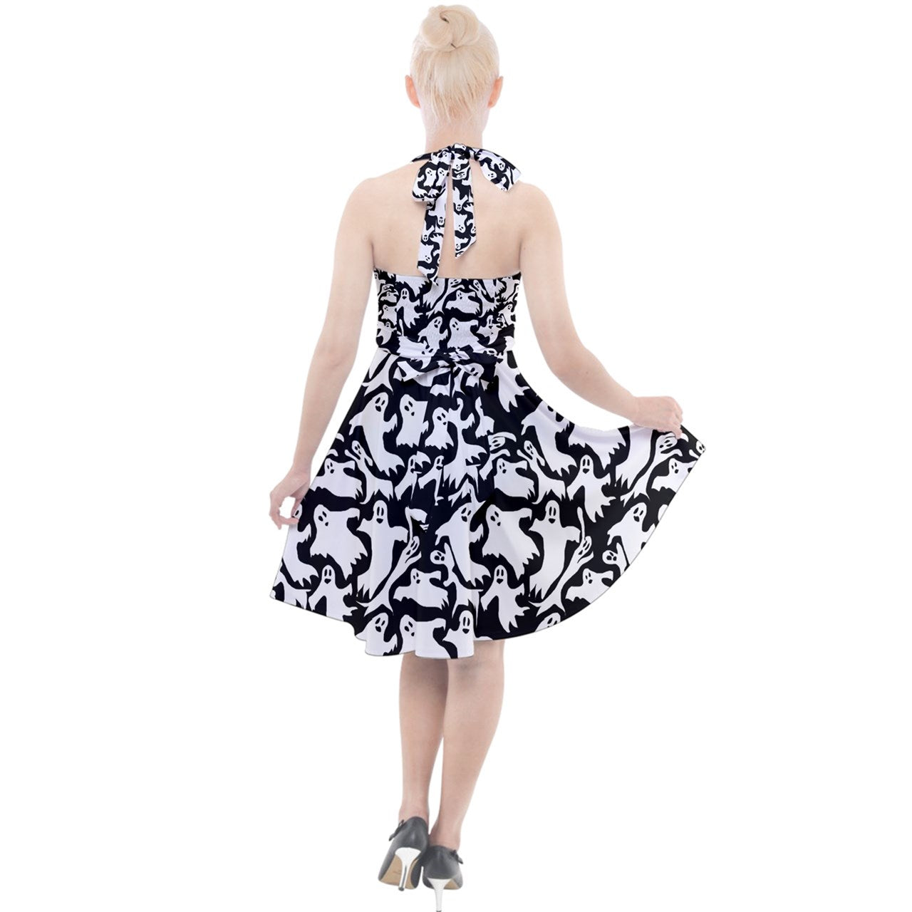 Ghosts Halter Party Swing Dress