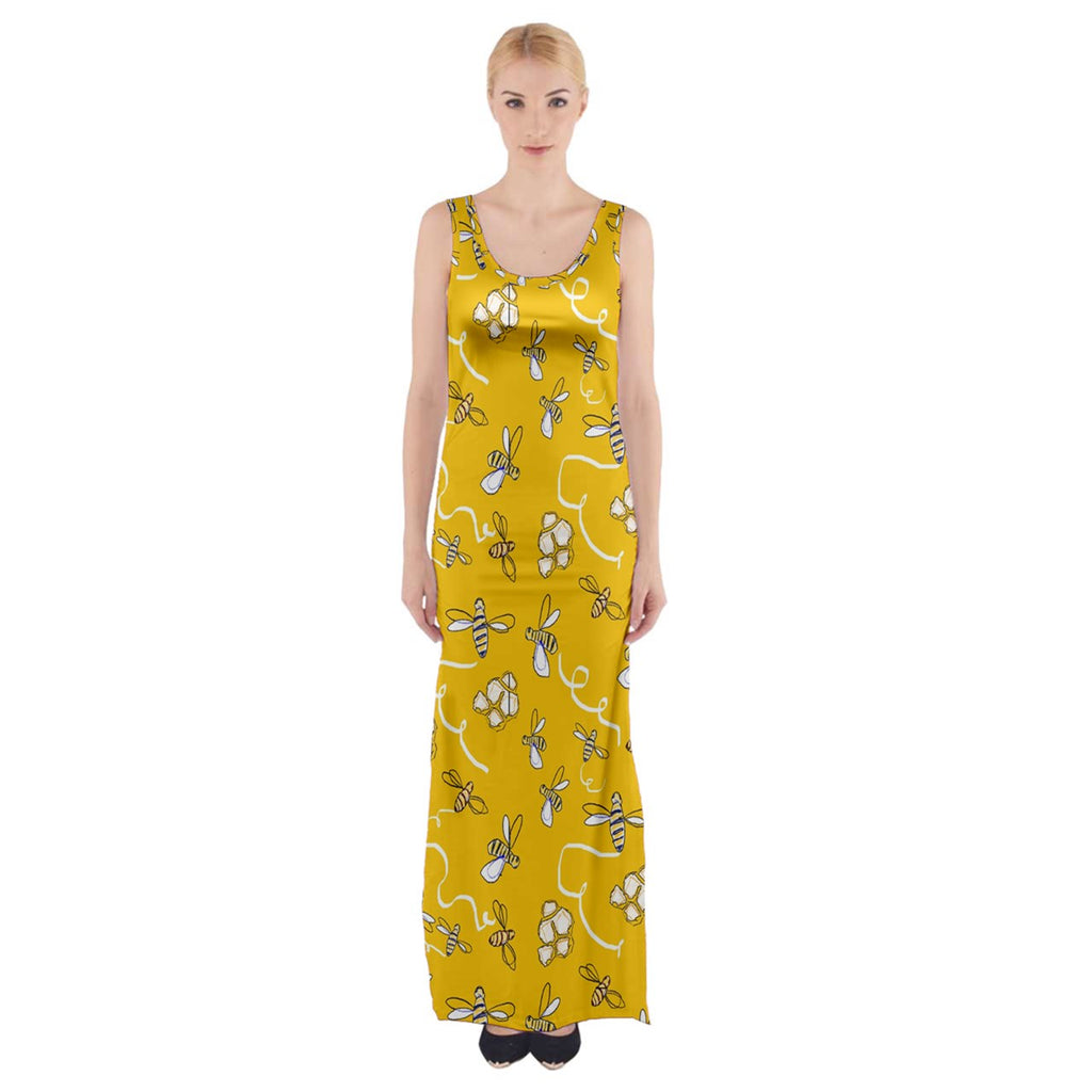 Honeybees Thigh Split Maxi Dress