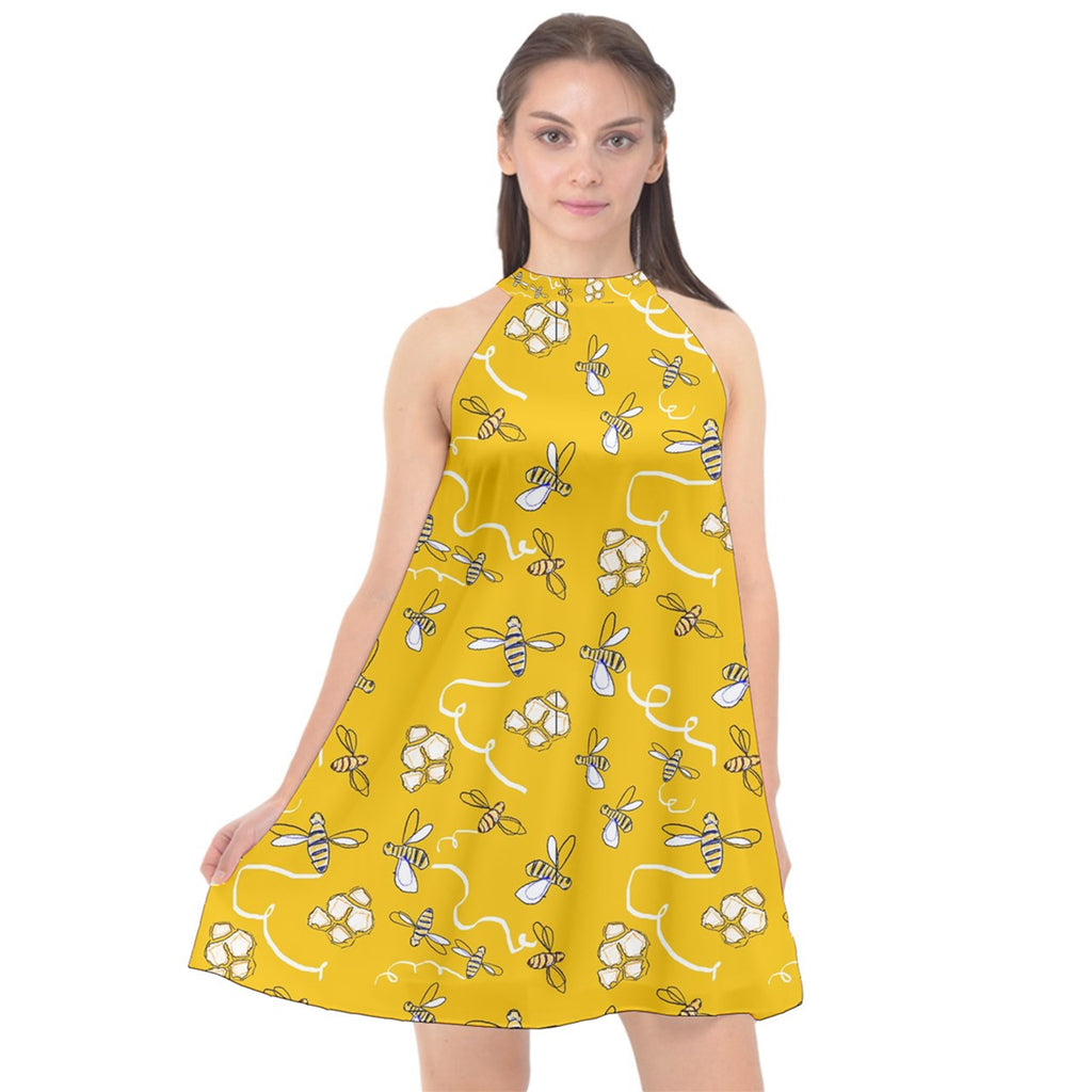 Honeybees Halter Neckline Chiffon Dress