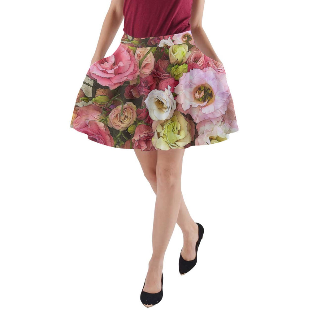 Pink Lisianthus Flowers A-Line Pocket Skirt