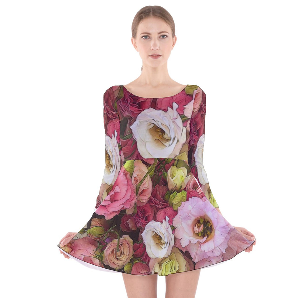 Pink Lisianthus Flowers Long Sleeve Velvet Skater Dress