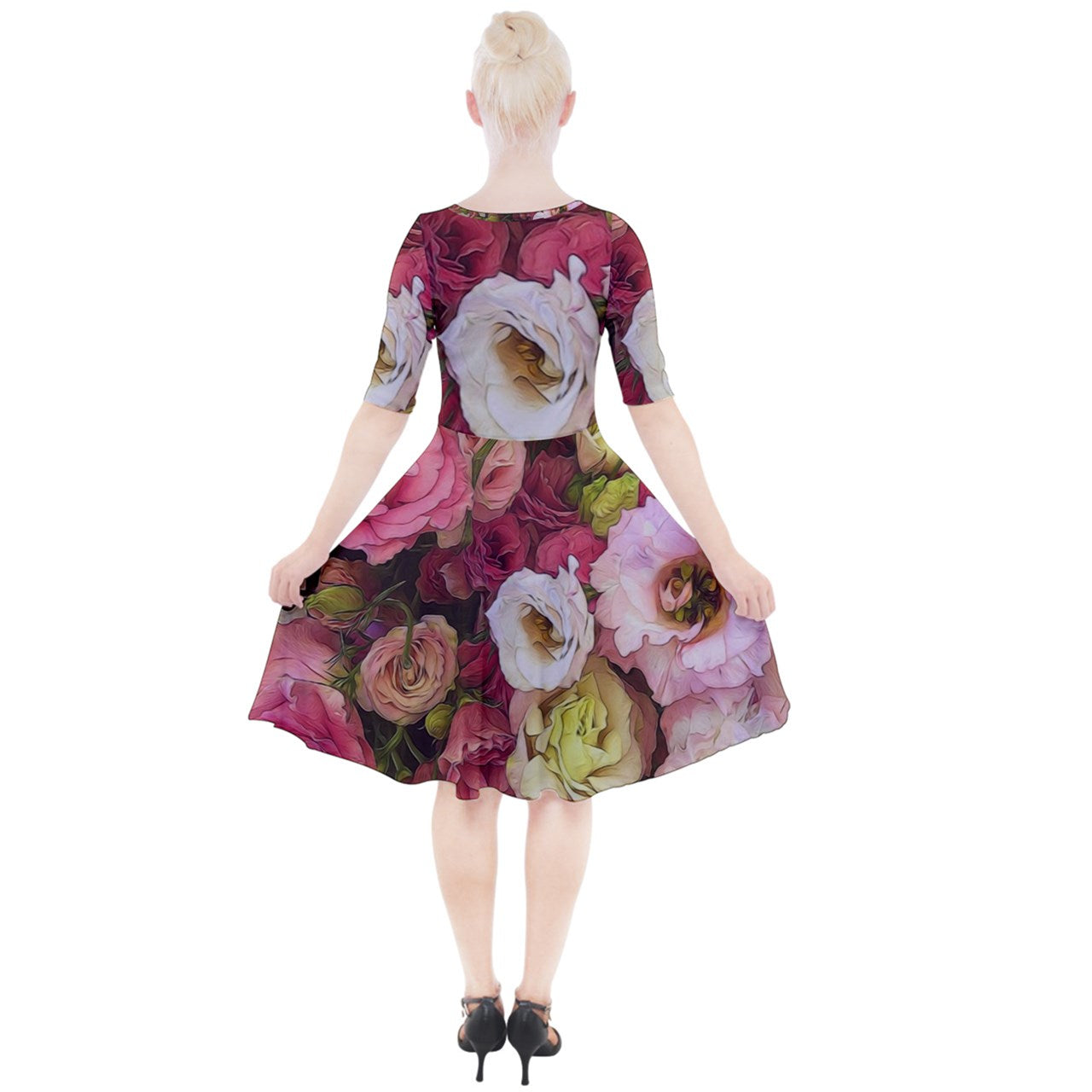 Pink Lisianthus Flowers Quarter Sleeve A-Line Dress