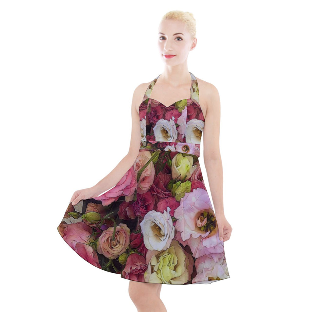 Pink Lisianthus Flowers Halter Party Swing Dress