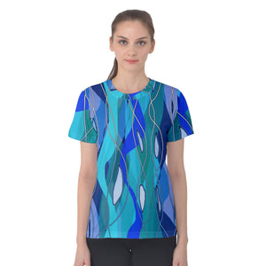 Wavy Blue Women's Cotton Tee