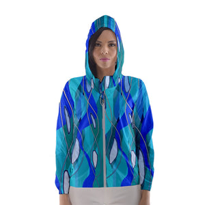 Wavy Blue Women's Hooded Windbreaker