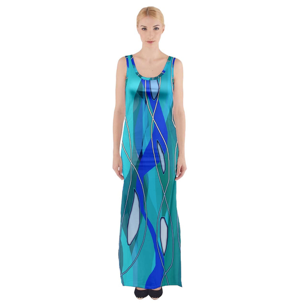 Wavy Blue Thigh Split Maxi Dress