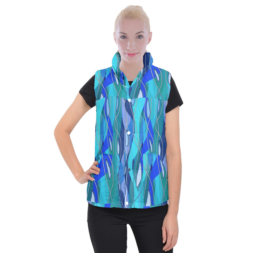 Wavy Blue Women's Button Up Vest