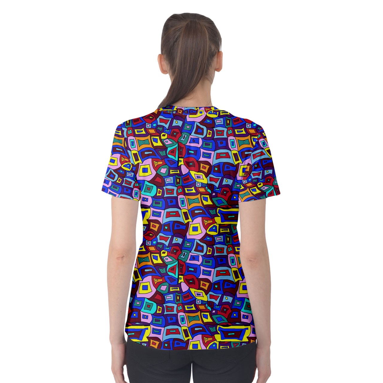 Wavy Square Pattern Women's Cotton Tee