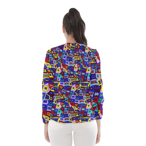 Wavy Square Pattern Women's Hooded Windbreaker