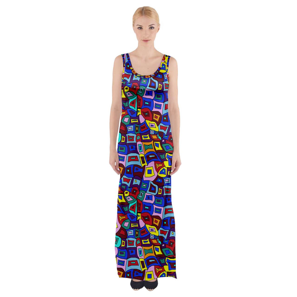 Wavy Square Pattern Thigh Split Maxi Dress