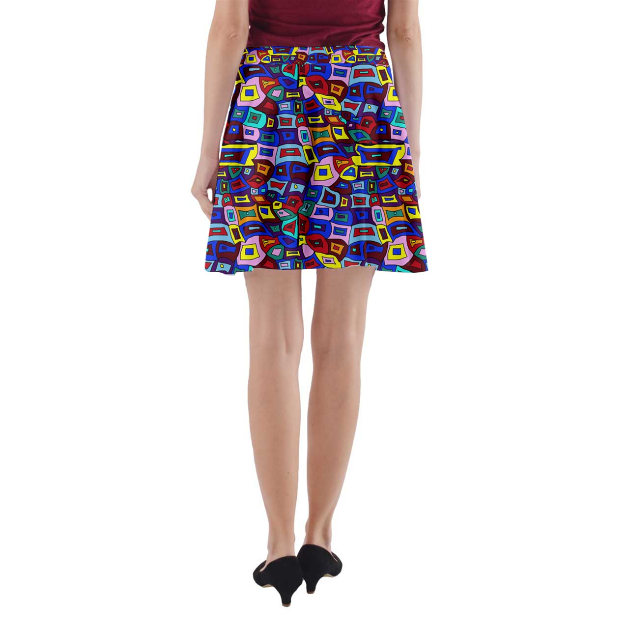 Wavy Square Pattern A-Line Pocket Skirt