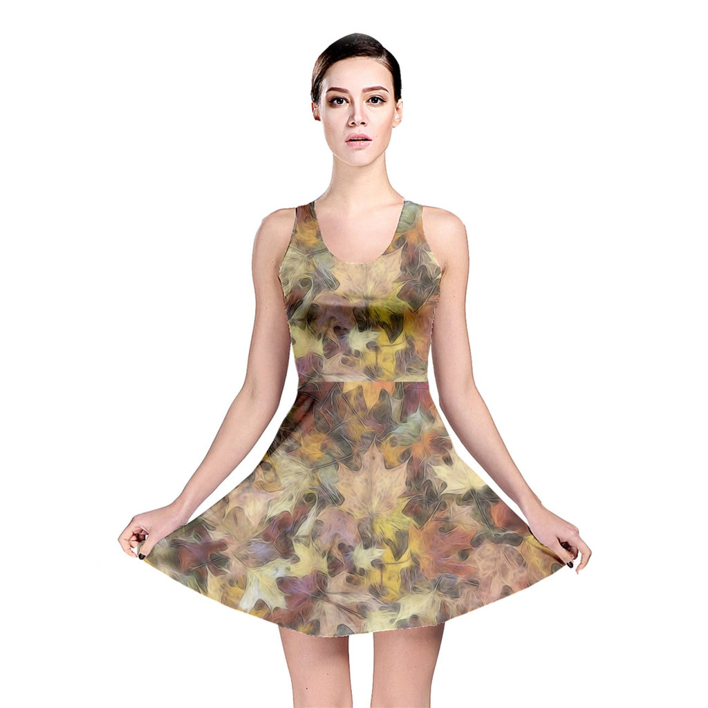 Late October Leaves Light Reversible Skater Dress