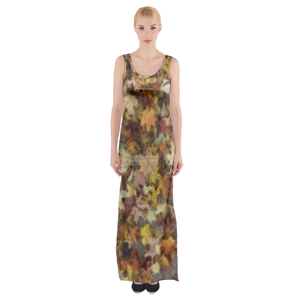 Late October Leaves Light Thigh Split Maxi Dress