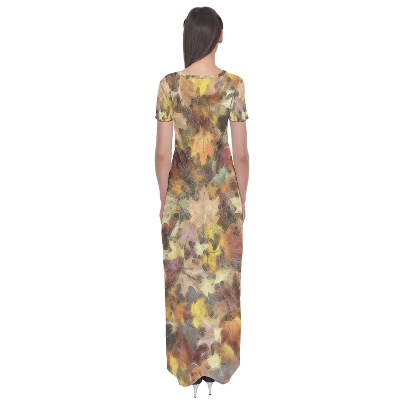 Late October Leaves Light Short Sleeve Maxi Dress