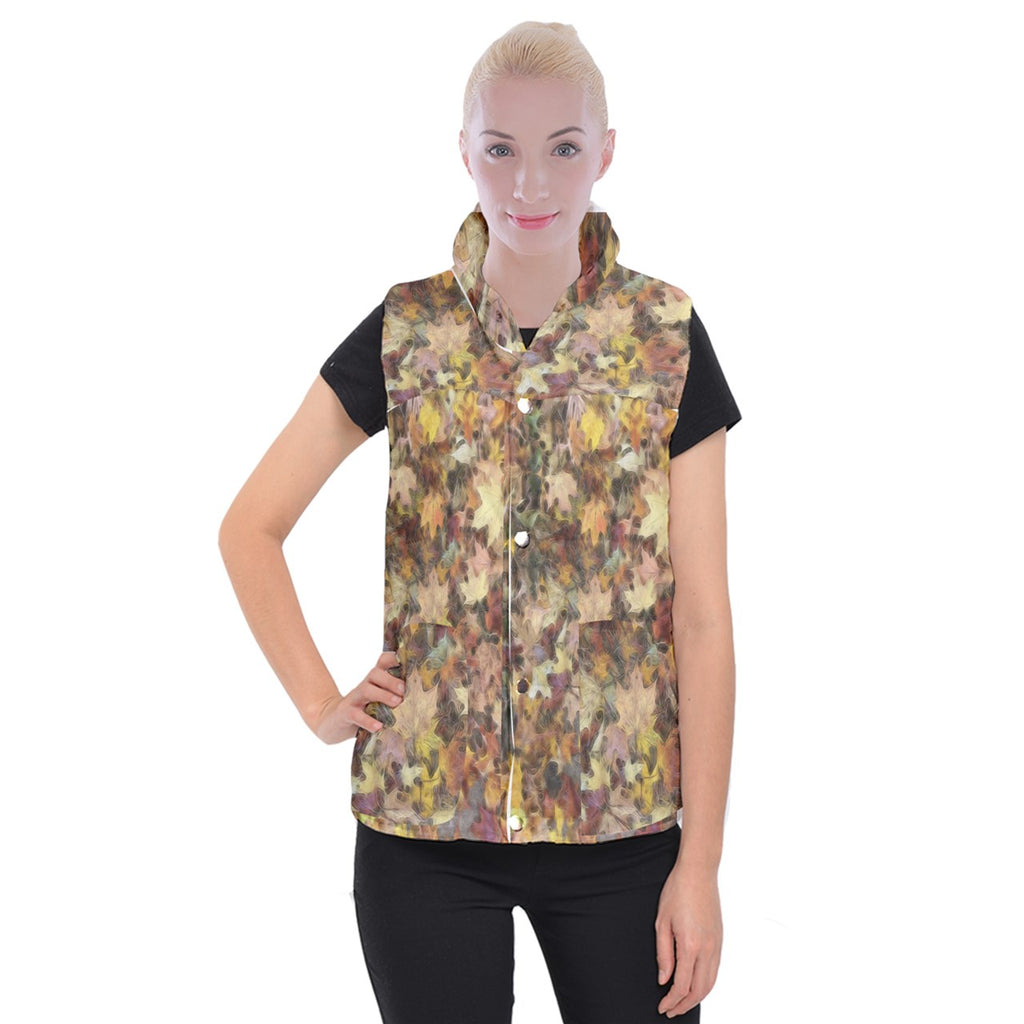 Late October Leaves Light Women's Button Up Vest