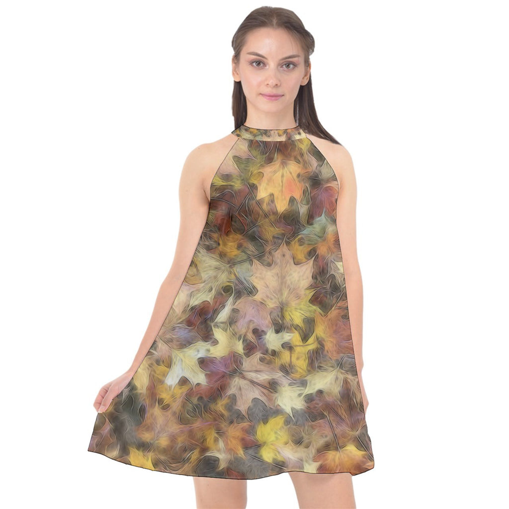 Late October Leaves Light Halter Neckline Chiffon Dress
