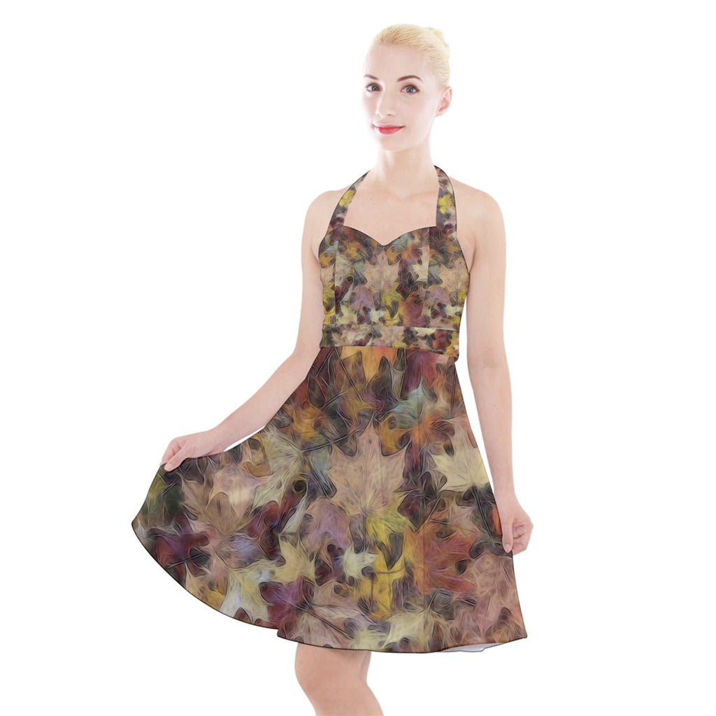 Late October Leaves Light Halter Party Swing Dress