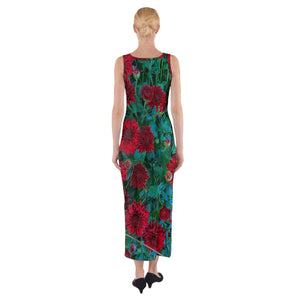 Red Mums Fitted Maxi Dress