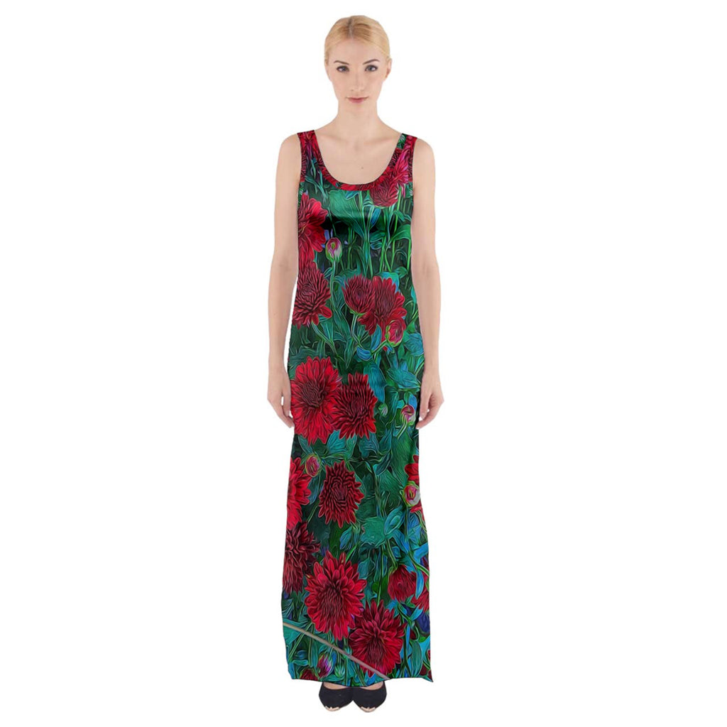 Red Mums Thigh Split Maxi Dress