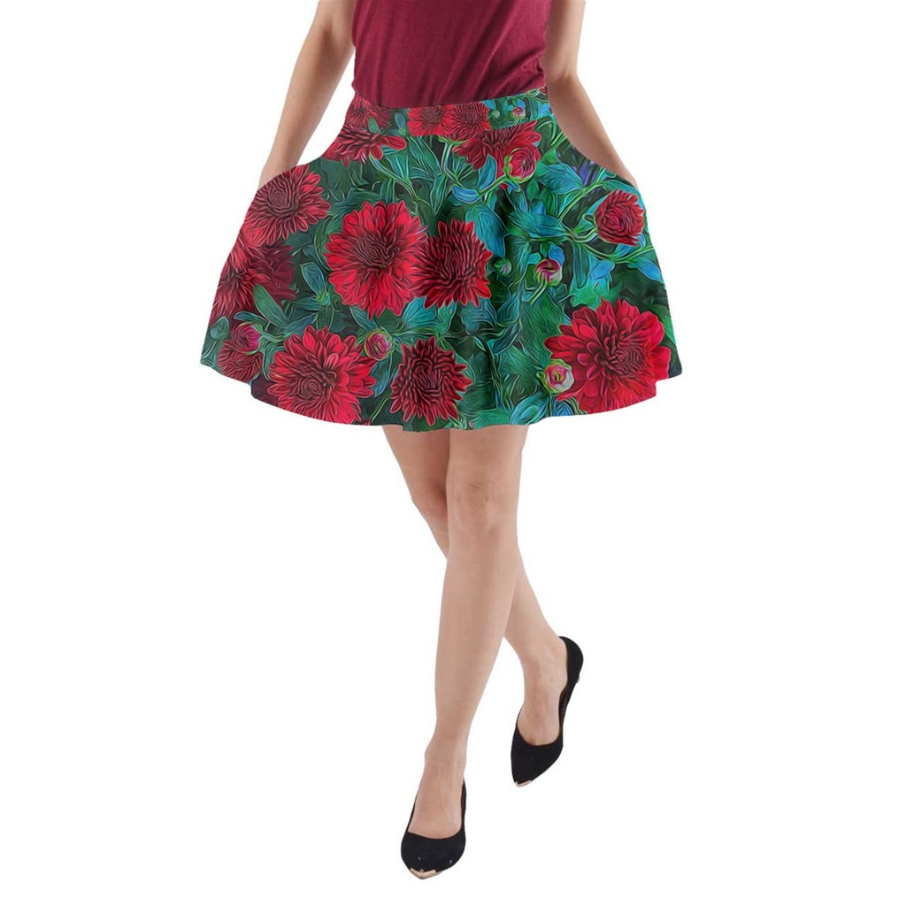 Red Mums A-Line Pocket Skirt