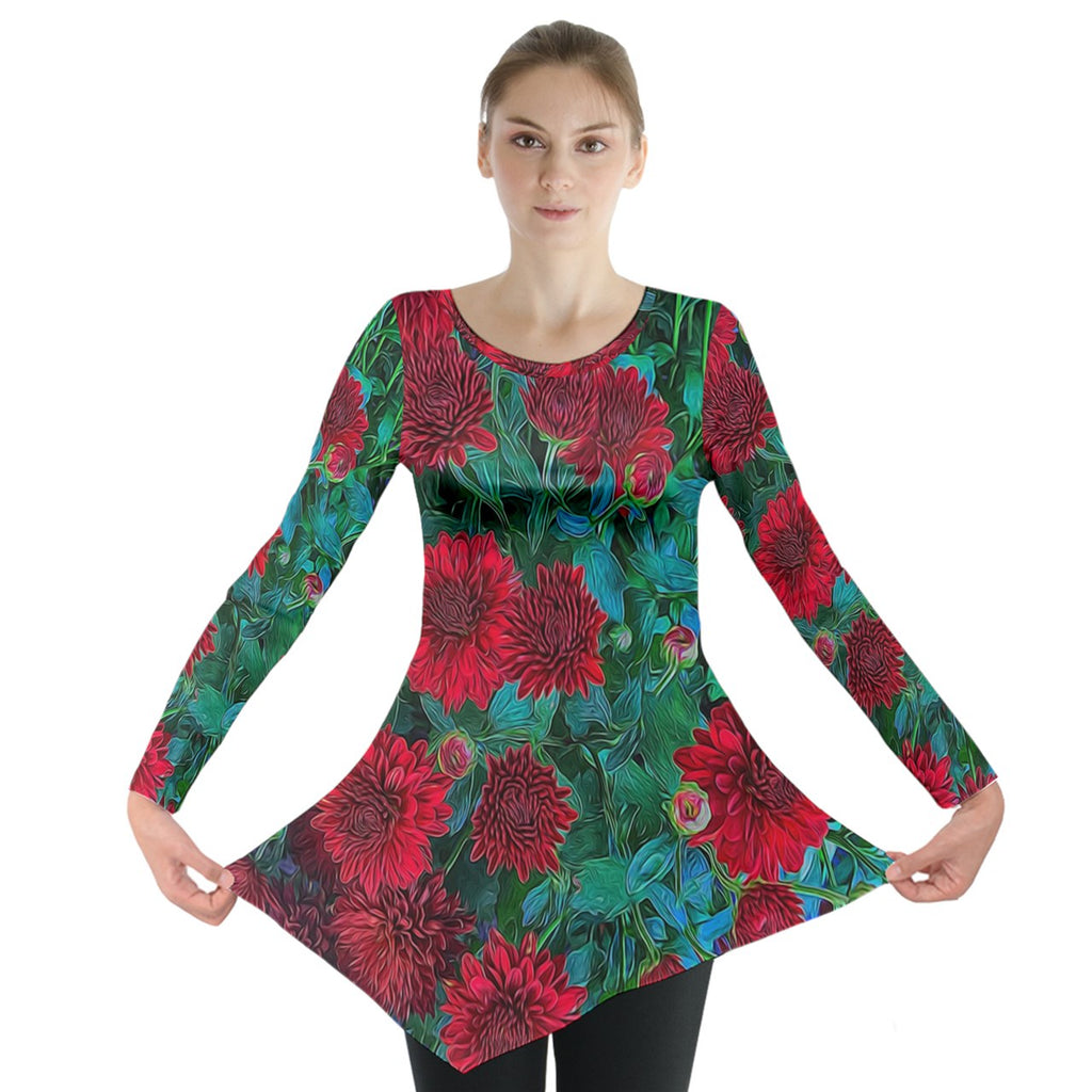 Red Mums Long Sleeve Tunic