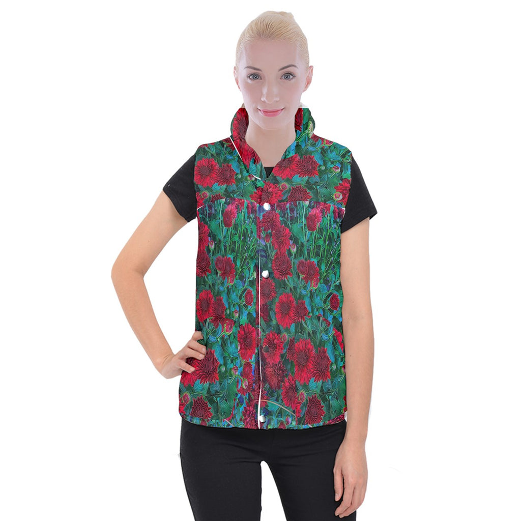 Red Mums Women's Button Up Vest