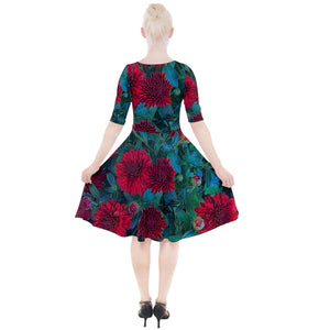 Red Mums Quarter Sleeve A-Line Dress