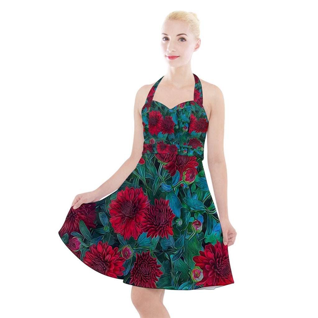 Red Mums Halter Party Swing Dress