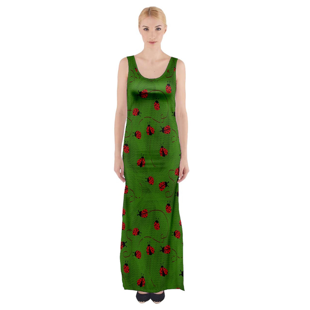 Ladybugs  Thigh Split Maxi Dress