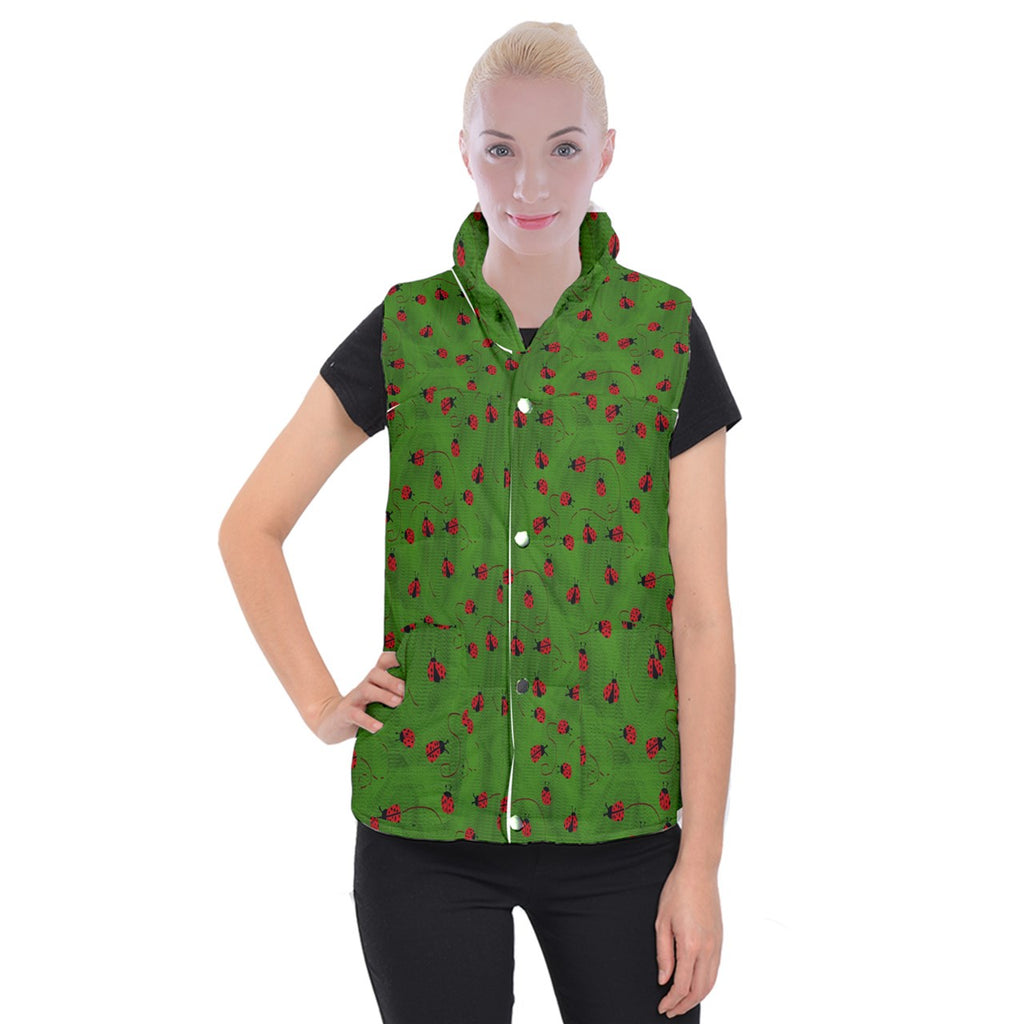 Ladybugs  Women's Button Up Vest