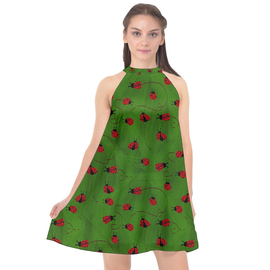 Ladybugs  Halter Neckline Chiffon Dress