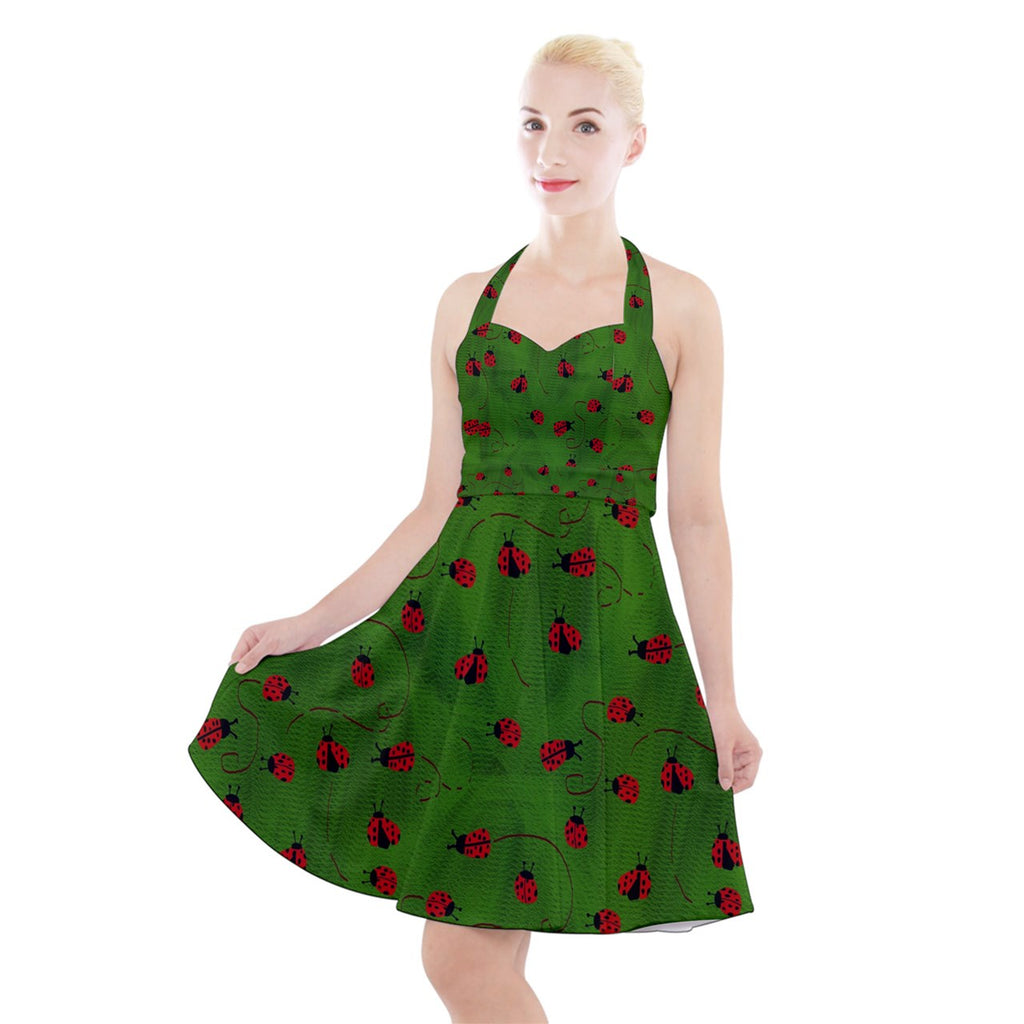 Ladybugs  Halter Party Swing Dress