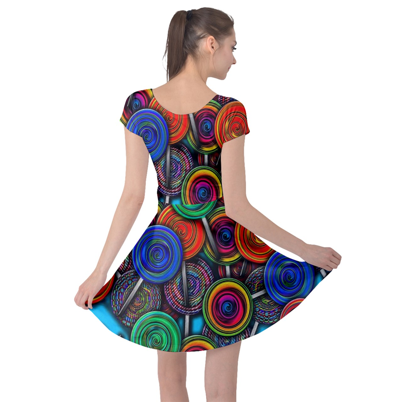 Colorful lolipops Cap Sleeve Dress