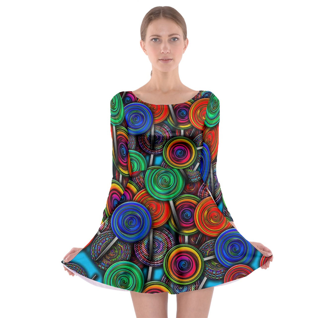 Colorful lolipops Long Sleeve Skater Dress