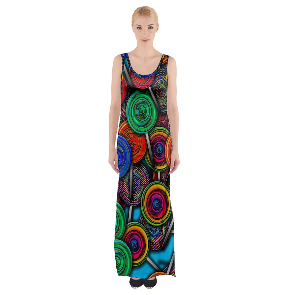 Colorful lolipops Thigh Split Maxi Dress