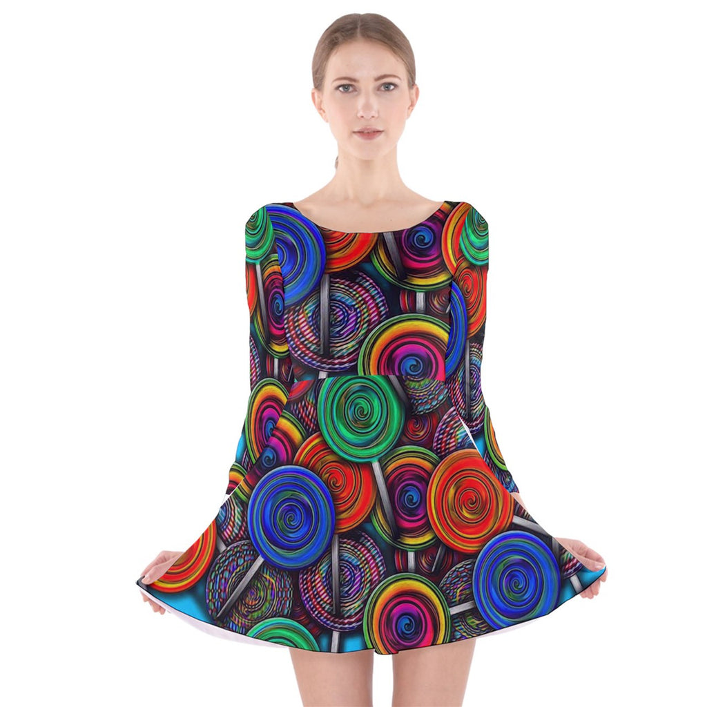 Colorful lolipops Long Sleeve Velvet Skater Dress