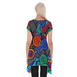 Colorful lolipops Short Sleeve Side Drop Tunic
