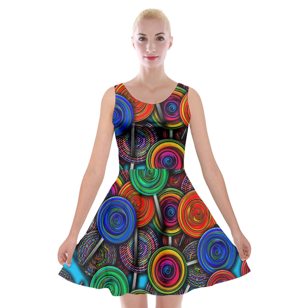 Colorful lolipops Velvet Skater Dress
