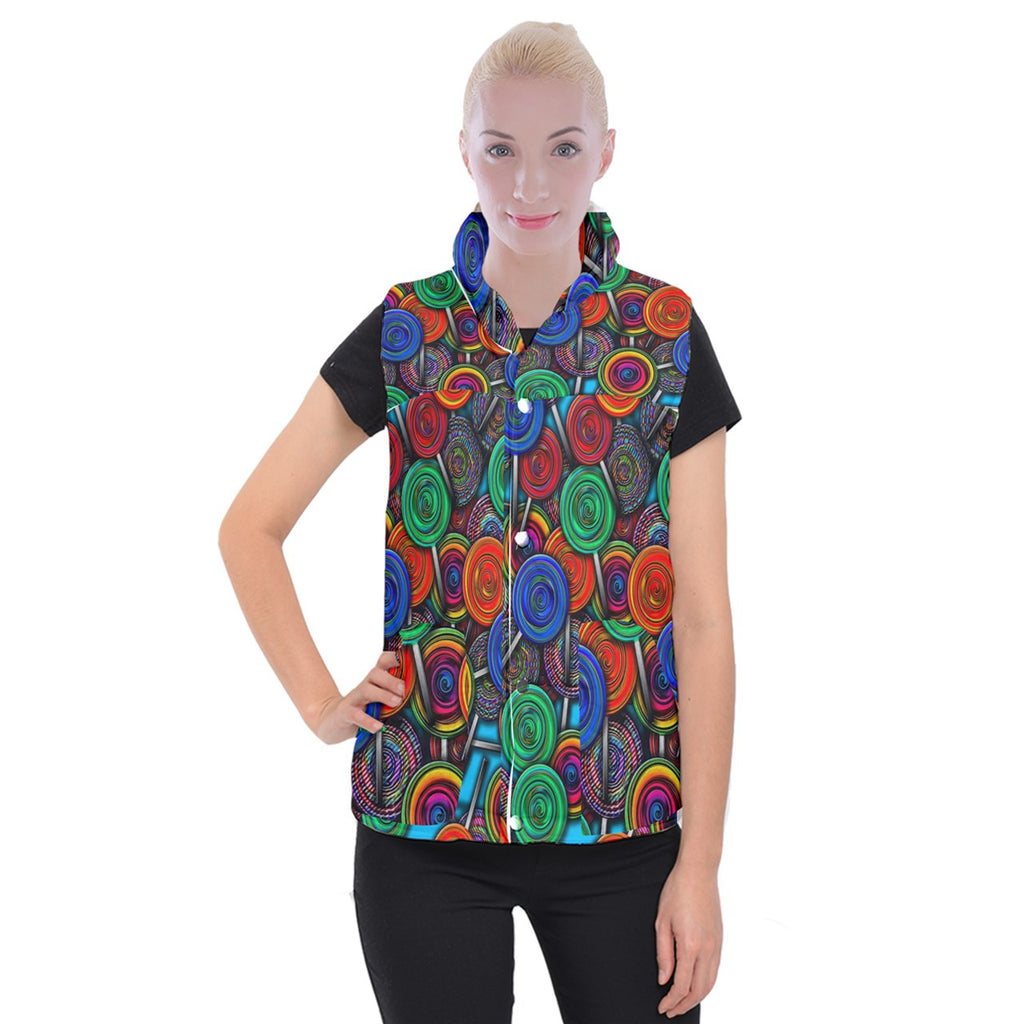 Colorful lolipops Women's Button Up Vest