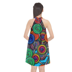 Colorful lolipops Halter Neckline Chiffon Dress