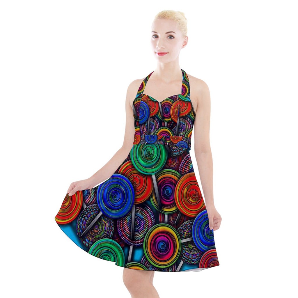 Colorful lolipops Halter Party Swing Dress