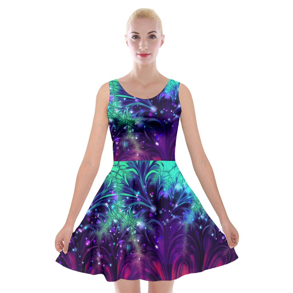 Crash and Yearning Velvet Skater Dress