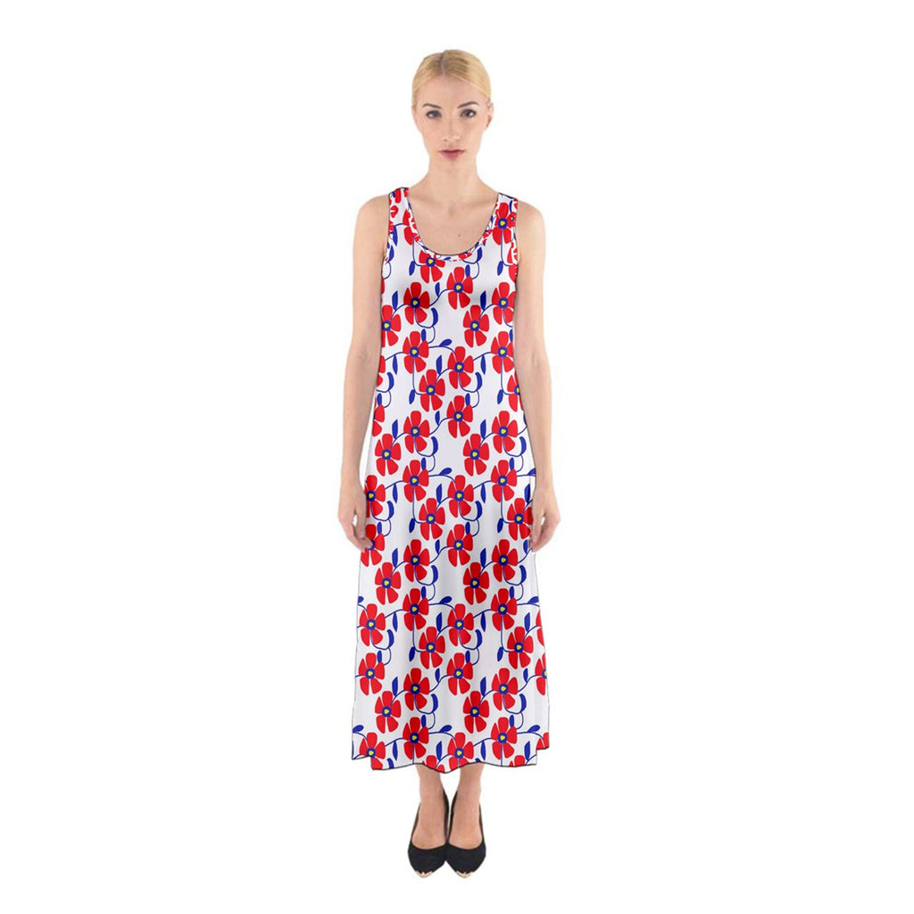 Red Flowers Blue Vines Sleeveless Maxi Dress