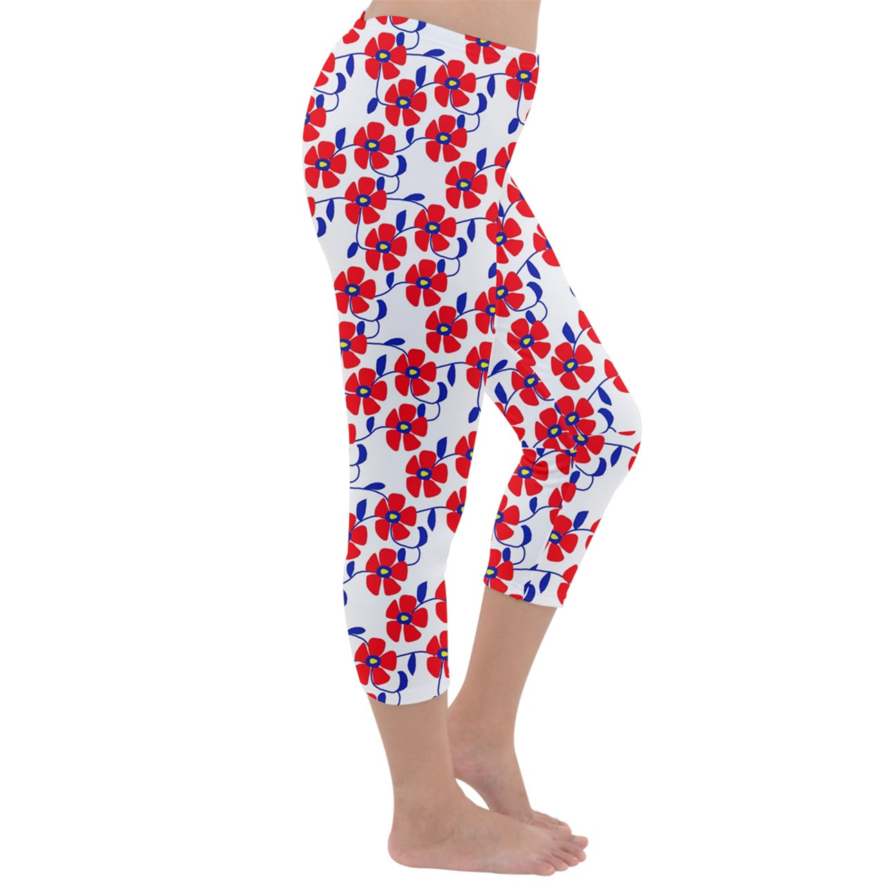 Red Flowers Blue Vines Capri Winter Leggings