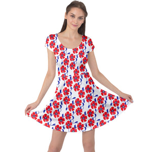 Red Flowers Blue Vines Cap Sleeve Dress