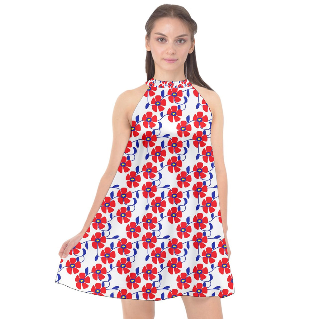 Red Flowers Blue Vines Halter Neckline Chiffon Dress