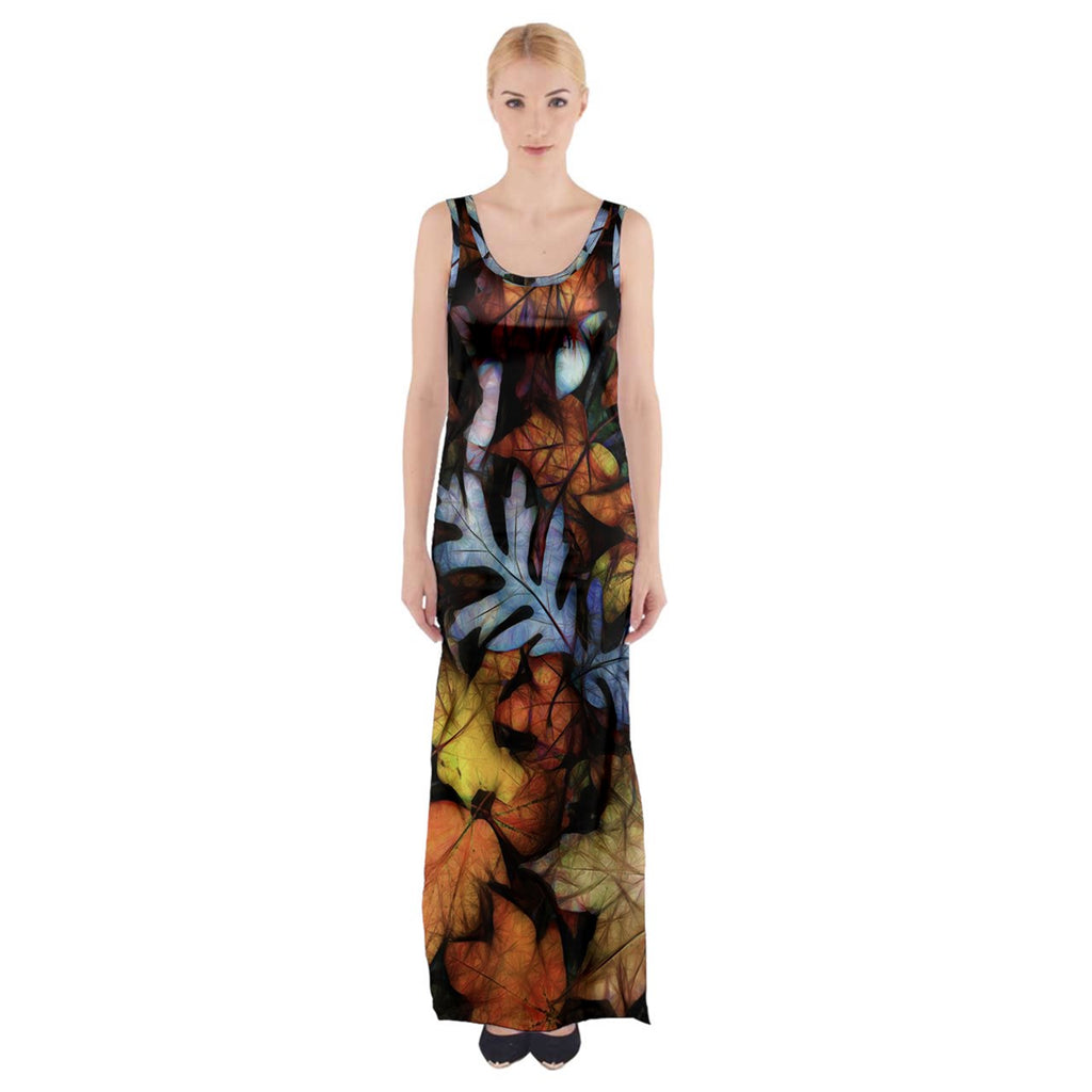 Mid October Leaves Thigh Split Maxi Dress