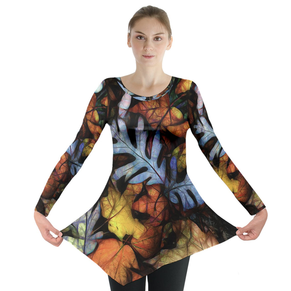 Mid October Leaves Long Sleeve Tunic